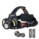 Stirnlampe LED ,Elekin® Kopflampe mit 2000LM Birne Wasserdicht USB Wiederaufladbar LED Stirnlampe Taschenlampe mit leicht 4 Helligkeiten Zoom Headlampe Kopflampe Perfekt fürs Joggen ,Bergsteigen, Angeln Klettern