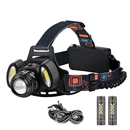 LED Stirnlampe,Elekin LED Kopflampe mit 2000LM Birne Wasserdicht USB Wiederaufladbar LED Stirnlampe Taschenlampe mit leicht 4 Helligkeiten Zoom Headlampe Kopflampe Perfekt fürs Joggen ,Bergsteigen, Angeln Klettern