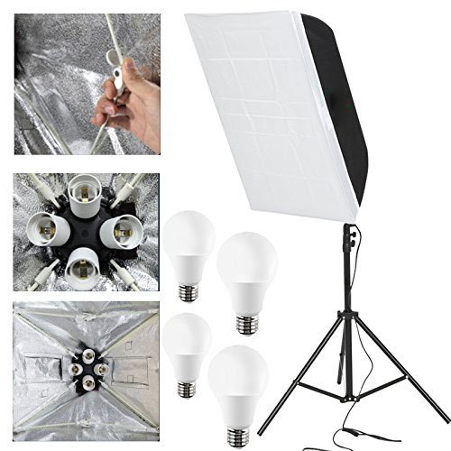 "'Fomito pieghevoli Fotografia Soft Box luce illuminazione Kit Attrezzature fotografiche Soft Studio Luce soft box 24 "" x24/60 x 60 cm con opeing finestra + Flash stand + 4 X 12 W lampada flash 220 V"
