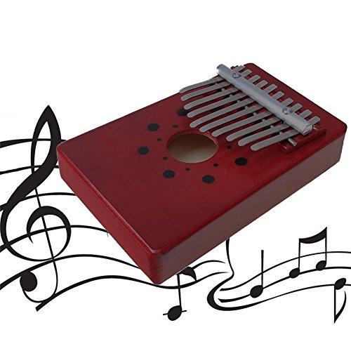 10Schlüssel rot Daumenklavier natur Holz Kalimba afrikanischen Folk Musikinstrument mit Ton Aufkleber