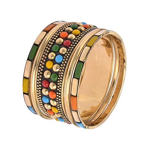 Apnaa Tibetan Gold Tone Bangle Set With Beads