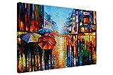 """Wandbild """"Night Umbrellas"""" von Leonid Afremov, auf Leinwand, gerahmt, moderne Kunst für Wohnzimmer, canvas holz, 02- A3 - 16"""" X 12"""" (40CM X 30CM)"""