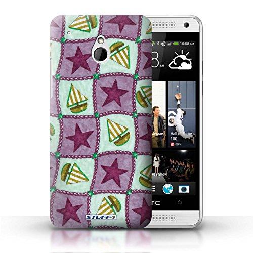 Kobalt® Imprimé Etui / Coque pour HTC One/1 Mini / Violettes/Vertes conception / Série Bateaux étoiles Violettes/Vertes