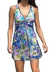FREEFISHER Maillot de Bain Robe/Dress de plage Ensemble imprime bleu XL