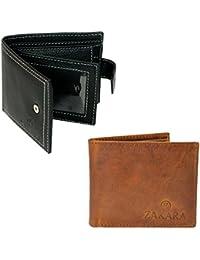 Zakara Combo Pack of Genuine Black Leather Wallet Buy 1 Get 1 Wallet (LW-04) Free