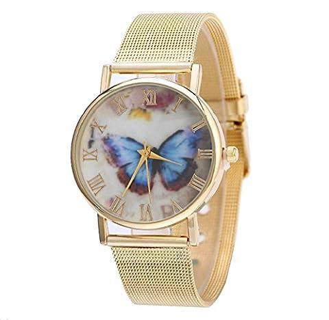 Tongshi Neue Mode Frauen Design Blauer Schmetterling Muster Gold Uhren