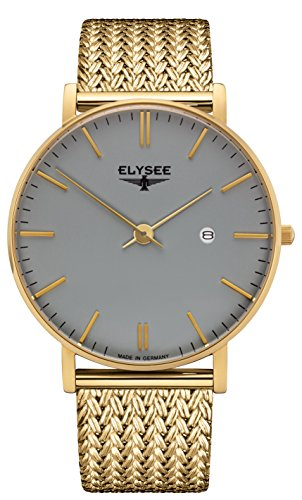 ELYSEE MEN'S ZELOS 40MM GOLD PLATED BRACELET & CASE QUARTZ ANALOG WATCH 98002M