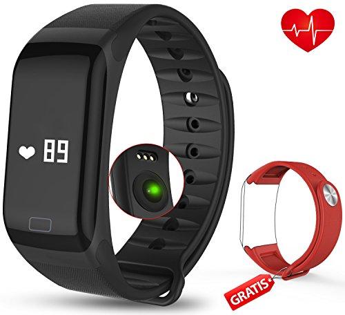 Fitness Armband mit Pulsmesser - AUQIEN F1 Fitness Tracker, Wasserdichte IP 67 Sportuhr, Aktivitätstracker Schrittzähler Kalorienzähler Fitness Uhr mit einem Ersatzarmband für iOS und Android (schwarz-rot)