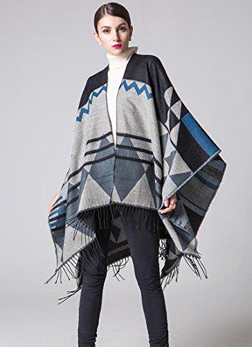 Frauen Mode Nepal Stil geometrischen Mustern Oversized verdickte Decke Schal wickeln Poncho Schal Cape gemütliche Faux Cashmere oversized Tartan Schals ideale Geschenke für Frau 150 * 130cm , a (Tartan Cashmere)