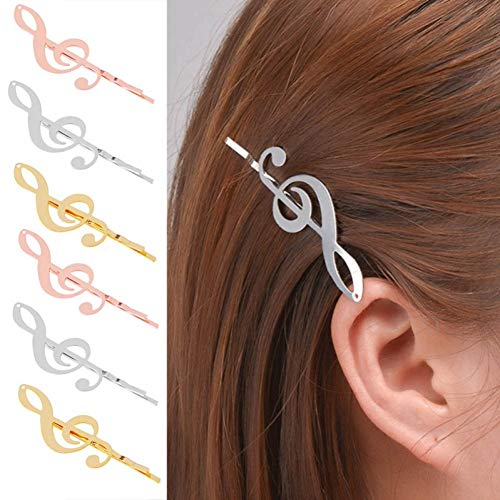 NNYCS Haarspangen 1 Stücke Mode Einstellungen Filigrane Musiknotenpads Haarspange Haarnadeln Handwerk Erkenntnisse Gold Farbe Haar