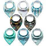 Bestbaby Baby Dreieckstuch Lätzchen 8er Pack Halstuch Spucktuch Lätzchen mit Druckknopf für Baby Jungen und Mädchen Kleinkinder Saugfähig Weich Größenverstellbar