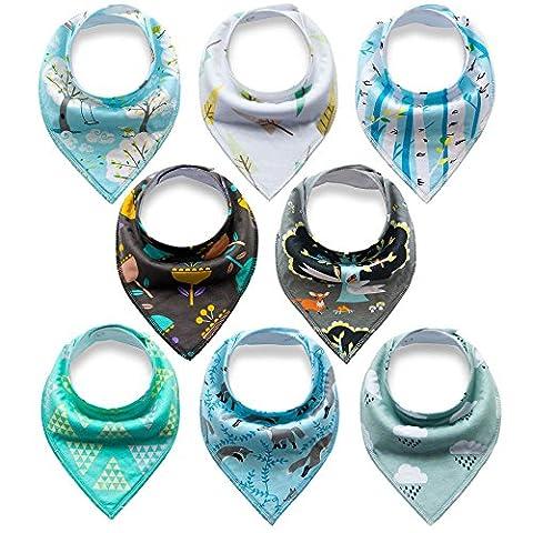 Bestbaby Baby Dreieckstuch Lätzchen 8er Pack Halstuch Spucktuch Lätzchen mit Druckknopf für Baby Jungen und Mädchen Kleinkinder Saugfähig Weich (Kleinkind-jungen Set)