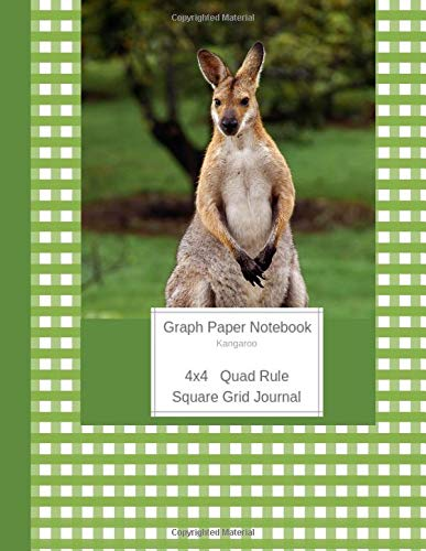 Graph Paper Notebook Kangaroo: Large Quad Rule 4x4 Square Grid Journal (Graph Paper 4x4 Book, Band 7) -