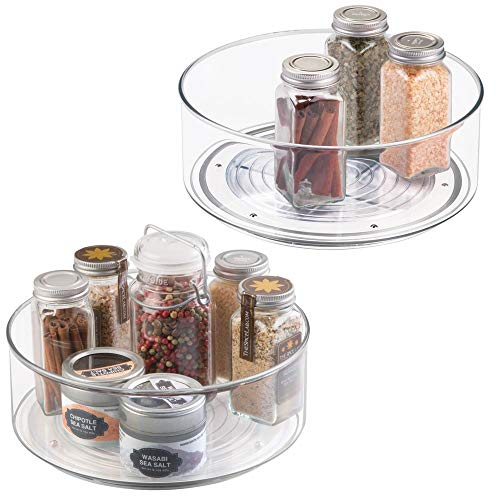 mDesign Juego de 2 soportes para especias - Práctico estante para utensilios de cocina - Plato giratorio de plástico para armarios de cocina - transparente