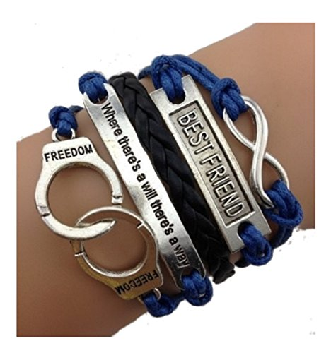 Imagen de strass & paillettes lote de dos pulseras best friend azul marino y cita. pulsera pareja de esposas. enlace infinito de plata. regalo de mejor amigo alternativa