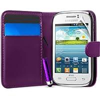 Supergets® Gravur Hülle für Samsung Galaxy Young (S6310/S6312 DUOS)- Mehrfarbige Geldbörse in Lederoptik Buchstil Schale Brieftasche Case mit Karteneinschub, Schutzfolie, Mini Stift