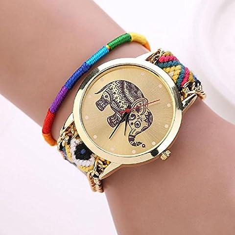 Amlaiworld Orologio da polso per Donne, Handmade Elephant Bracciale in rilievo Quadrante orologio al quarzo (giallo + blu) - Quadrante Blu Unisex