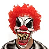 Halloween Gruselige Killer Clown Maske Rote Perücke Horror Lächeln Erwachsenen Party Kostüm Maske