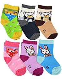 Crux&hunter 6 pair cotton new assorted socks for baby boy's and girl's (Age group 0-9 months)