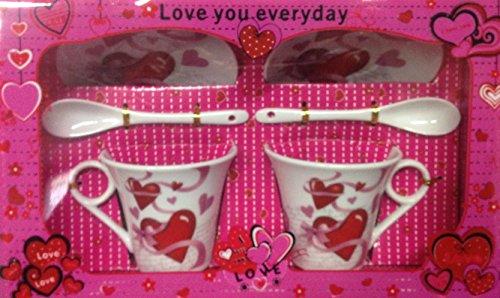 Set 2 tazze con piattino love idea regalo san valentino cuore