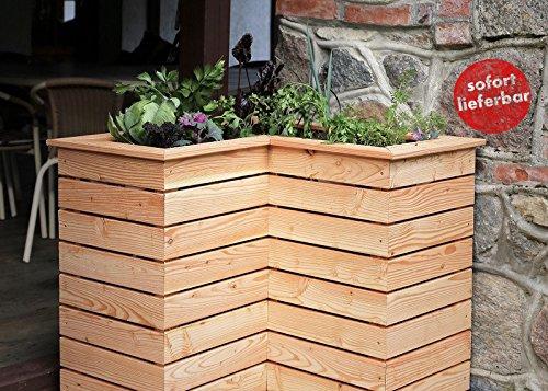 Apila Hochbeet VI 80x80x72cm aus Lärchenholz Teilmontiertes Garten-Möbel mit Unkrautvlies und Lüftungsschlitzen Echtholz zum Discountpreis