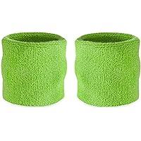 Muñequeras deportivas Suddora, algodón, 2 unidades, verde neón