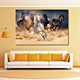#9: 999Store Wooden framed printed horse herd run in desert sand storm against dramatic sky canvas painting (36X24 Inches)