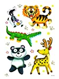 dpr. Fensterbild Set 5-tlg. Tiger Stinktier Krokodil REH Pandabär Panda Tiere statisch haftend Fenstersticker Aufkleber Fensterdekoration