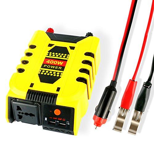 Autool 400W de Puissance de voiture Inverter DC 12V vers AC 220V avec 5V/2.4A double sortie USB chargeur universel de voiture adaptateur d'alimentation Inverters