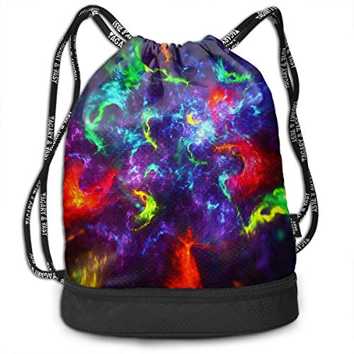 Juzijiang Aurora Skies Large Drawstring Sport Backpack Sack Bag Sackpack Aurora Fleece