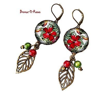 Boucles d'oreilles Fleurs tropicales cadeau bijou fantaisie vert rouge