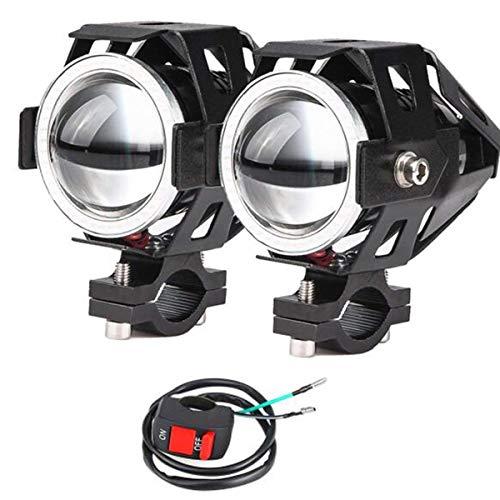 2x Motorrad Scheinwerfer mit Angel Eyes Lichter CREE U7 DRL Nebelscheinwerfer für Autos Fahrrad Boot ATV Frontscheinwerfer High/Dim/Strobe 3 Modi 6500K Weiße Farbe Schalter enthalten - Licht Scheinwerfer