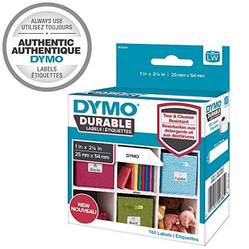 Dymo 1976411 LW Hochleistungs-Etiketten (für LabelWriter-Etikettendrucker, weißes Polyester, 25mm x 54 mm) Rolle mit 160 Etiketten -
