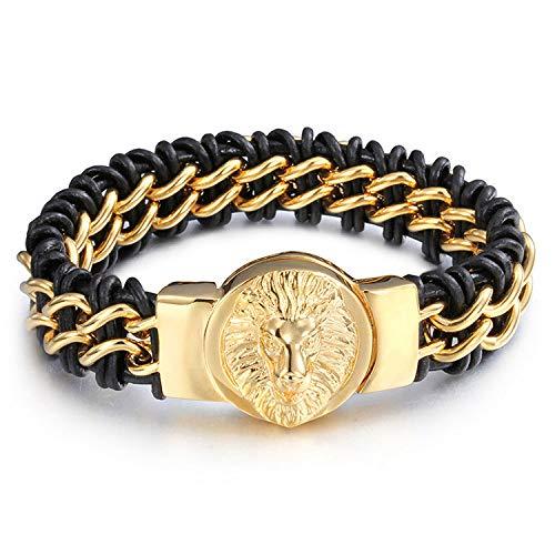 Bracciale da uomo in acciaio titanio + pelle testa di leone modello placcato oro braccialetto intrecciato a mano catena di allergia alla corrosione salute