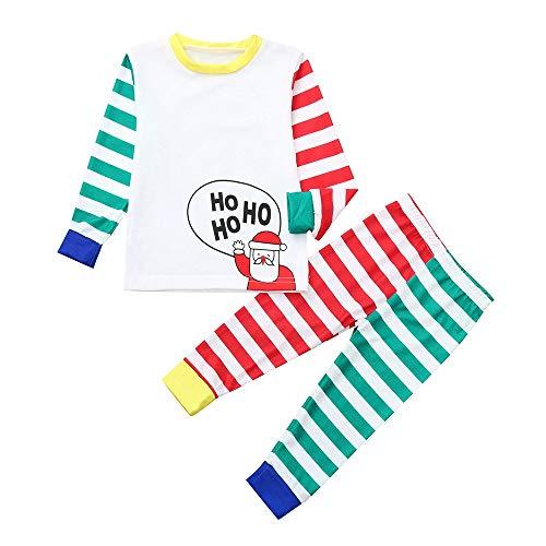 Passende Kleidung FüR Die Familie, Overmal Weihnachts Pyjama Sets, Xmas Eltern Kind Anzug Homewear, 2 Pcs Kinder Cartoon Santa Top + Streifen Hosen Kleidung Pyjamas