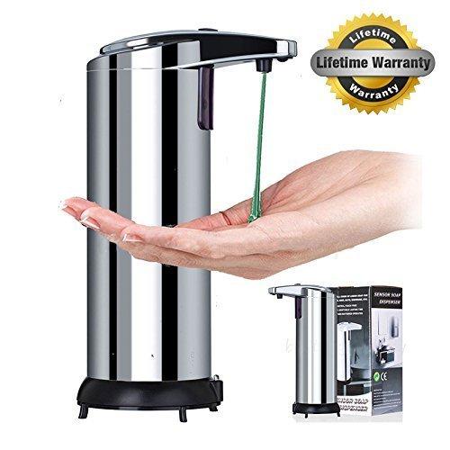 GuGuo Automatischer Seifenspender Seifenspender aus Edelstahl Badezimmer Spender - Berührungsloser -Infrarot -Seifen Dispenser für Küche und Bad Desinfektionsmittel Shampoo Emulsion (Silver)