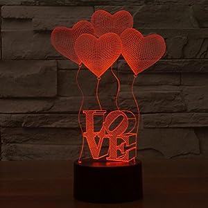 LEDMOMO 3D Lampe Nachtlicht Stimmungslicht Tischlampen Deko Herzen