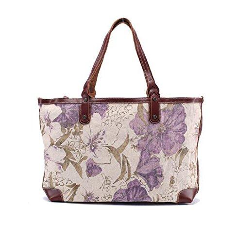 DJB/tragbar Canvas Tasche groß weiblich Baumwolle baodan Schultertasche Messenger Bag Violett