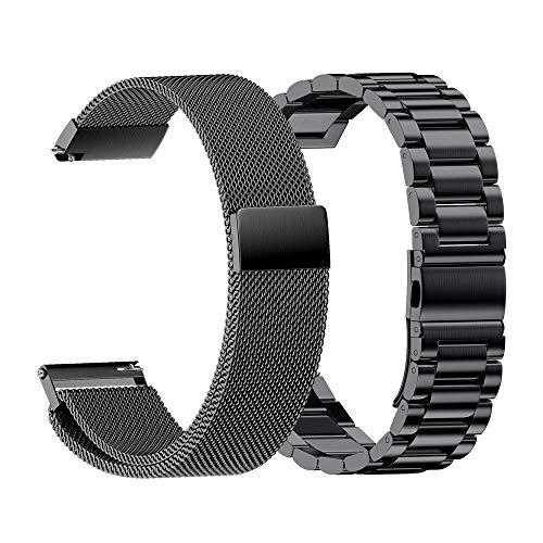 NotoCity 2-Packs Cinturino di Ricambio Universale 22mm Compatibile con Galaxy Watch 46mm / Gear S3 Classic/Garmin Fenix 5 Acciaio Inossidabile + Milanese