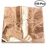 Ultnice foglia fogli imitazione oro argento foglia foil doratura per lavoretti artistici 100pcs (color rame)