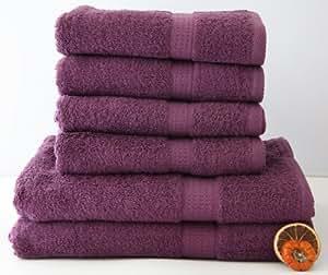 6 tlg. Handtuchset in LILA, 4 Handtücher 50x100cm / 2 Duschtücher 70x140cm , 100% Baumwolle 500g/m²