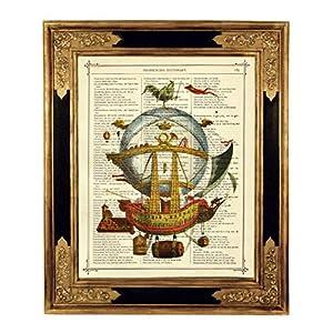 Flugschiff Luftschiff Steampunk Poster Kunstdruck auf viktorianischer Buchseite Geschenk Bild Jules Verne Reisen Abenteuer ungerahmt