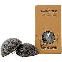 Kings of Sweden Spugna Konjac al carbone di bambù (2 x confezione) spugnetta di pulizia per pelli impure, 100% naturale, vegana, sostenibile, perché completamente biodegradabile