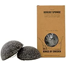 Kings of Sweden Konjac Schwamm Bambuskohle (2er Sparpackung) Gesichtsreinigungsschwamm für fettige und unreine Haut 100% natürlich, vegan, nachhaltig, da vollständig biologisch abbaubar!