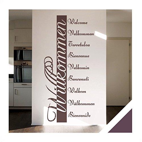 Exklusivpro Wandtattoo Willkommen in 10 Sprachen Flur Diele Eingang mit SWAROVSKI Strass (ban03 aubergine) 140 x 66 cm mit Farb- u. Größenauswahl