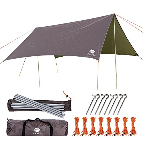 Anyoo Camping bâche imperméable Portable Ripstop Rain Tarp Parasol Compact Léger Abri Étanche pour Randonnée Backpacking Picnic