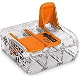 WAGO COMPACT-Verbindungsklemme mit Betätigungshebel 0.14-4mm², 3 Pol, Transparent/Orange, 221-413, 50 Stück