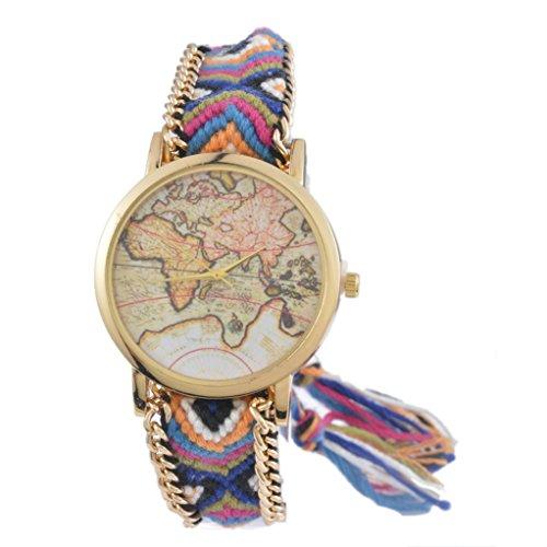 Souarts Damen Blau Geflochten Weltkarte Armbanduhr Quartzuhr Analog Armreif Uhr mit Batterie