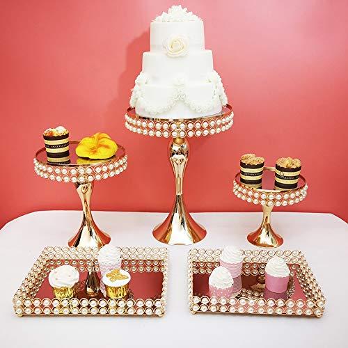FGHYUJY 5Stücke / Set Birnenperle Kuchen Stand Set Papier Tasse Halter Spiegel dekorative Platte High-End Hochzeit liefert (Papier Dekorative Platten)
