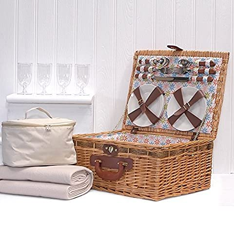 Florence 4 Person Picnic Basket Hamper, Cream Fleece Blanket & Cream Chiller Bag with Accessories - Gift ideas for Birthday, Anniversary and Congratulations Presents